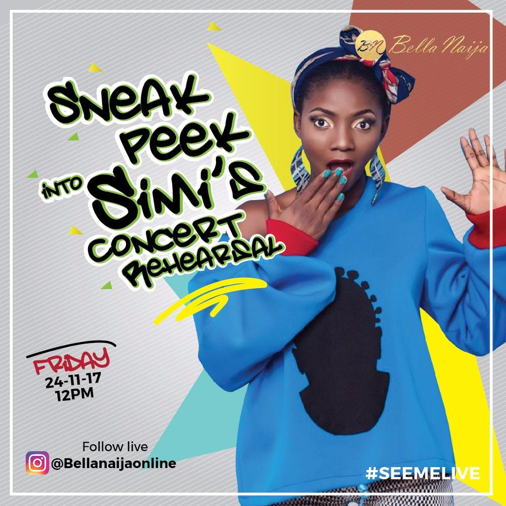 *Rehearsal Postponed* Join BN Music on Instagram today for a Sneak Peek into Simi's #SeeMe Live Concert Rehearsal