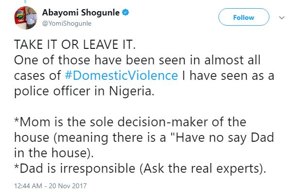 ACP Yomi Shogunle's Tweet on #DomesticViolence is causing mixed reactions