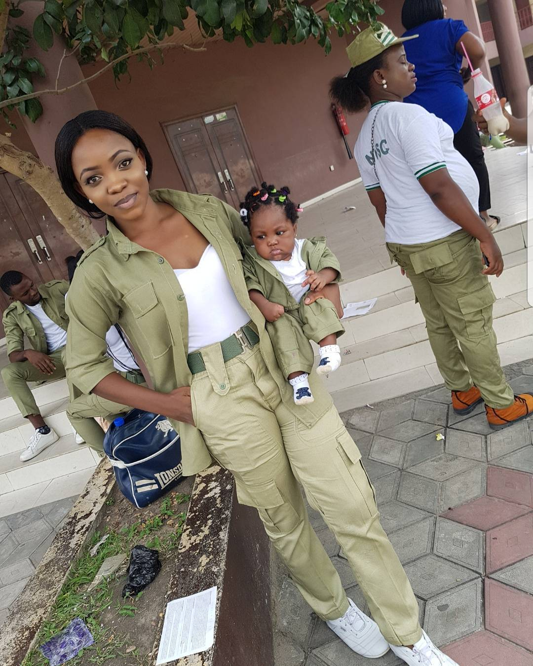 Photos this Beautiful Corper & Her Baby in a Matching Karki Outfit will Brighten Your Day
