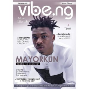 Rookie to Rockstar!🌟 Mayorkun covers Vibe Magazine's December 2017 Issue