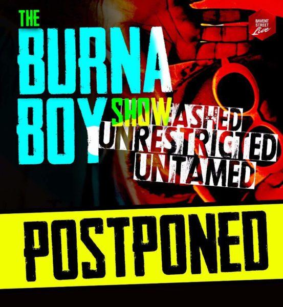 Burna Boy's Concert Postponed