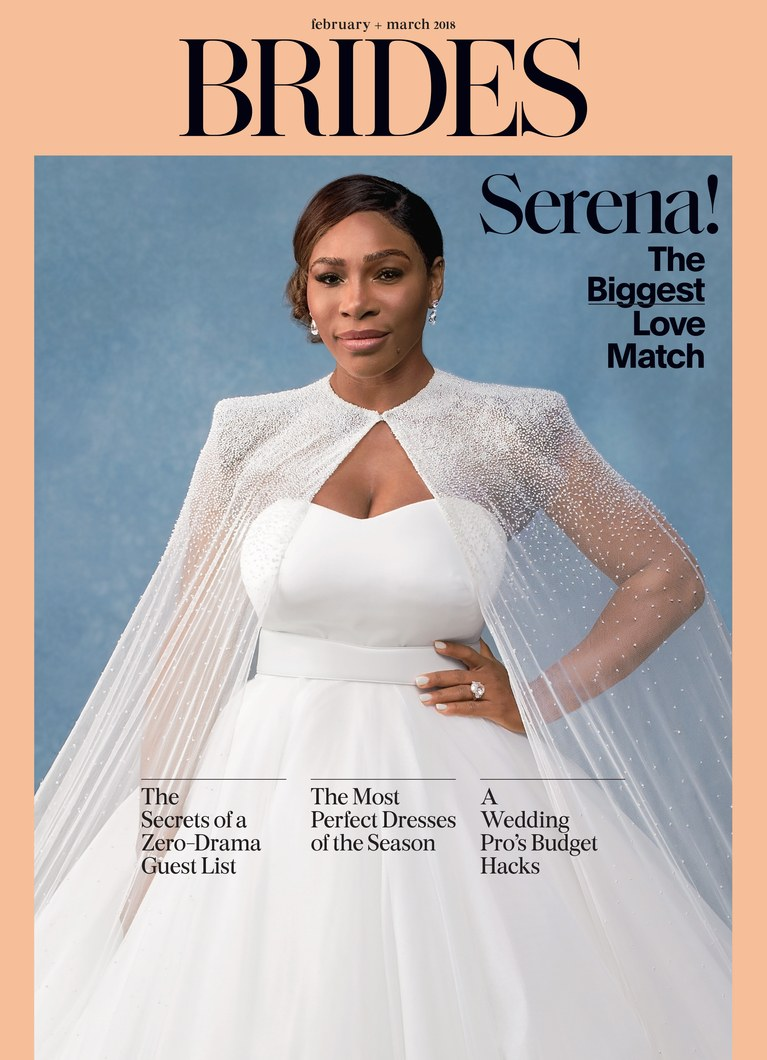 serena williams is super gorgeous for brides magazine 39 s february march 2018 double cover. Black Bedroom Furniture Sets. Home Design Ideas