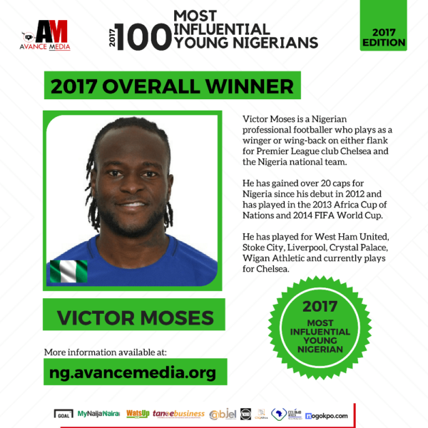 Victor Moses voted Most Influential Young Nigerian - BellaNaija