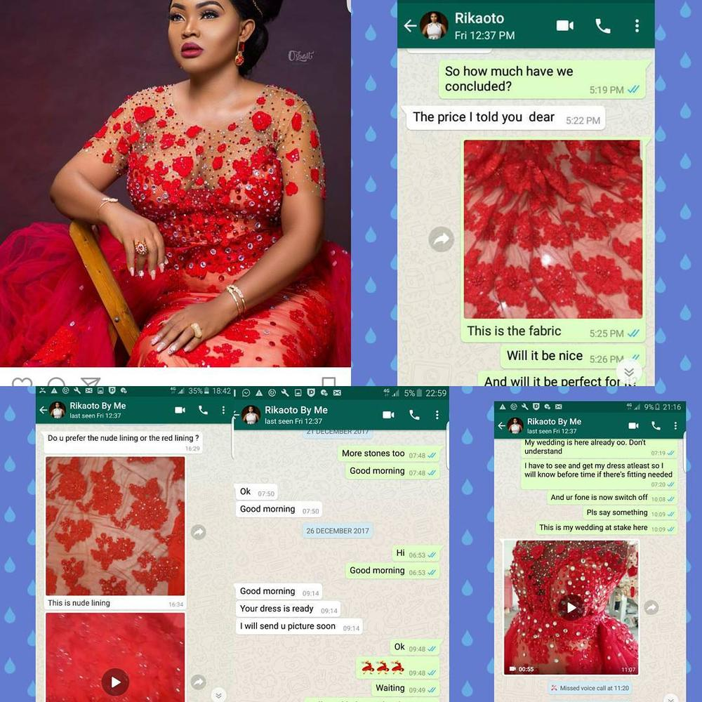 Fashion Designer Rikaotobyme under fire for using bride's fabric for Mercy Aigbe Birthday shoot