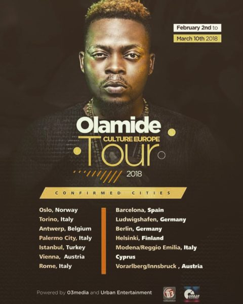 """The Culture Tour! Olamide taking the """"Wobey Sound"""" to Europe this Year"""