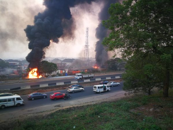 Gas Station reportedly explodes at CMD Road, Magodo - BellaNaija