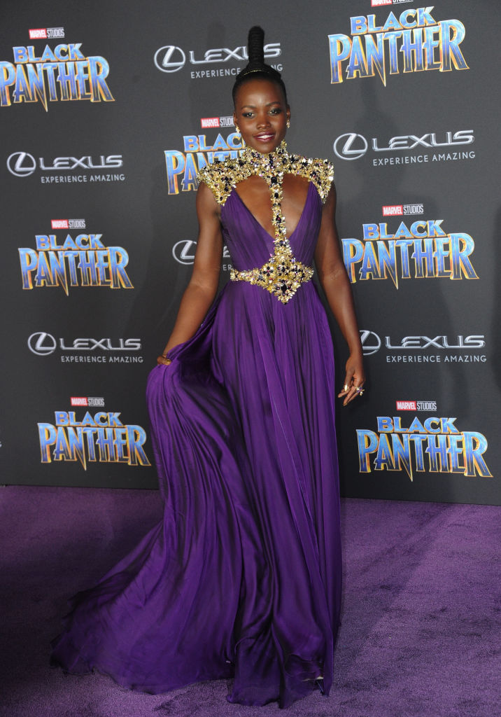 Lupita Nyong'o stuns in purple at #BlackPanter World movie premiere