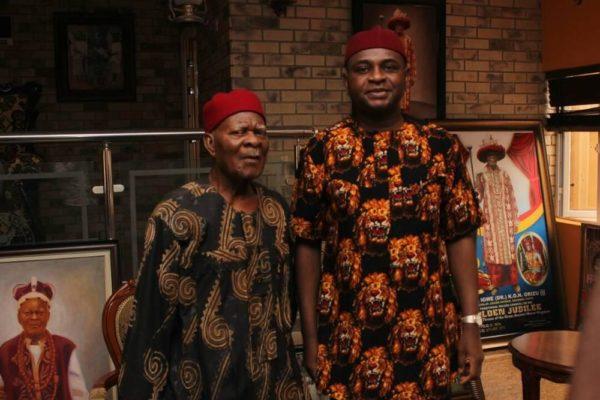 Prof. Moghalu with his Igwe, HRH Igwe K.O.N. Orizu, Igwe of Nnewi.