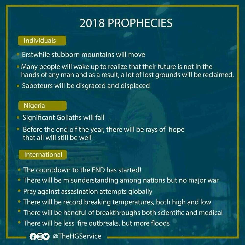 """""""Significant Goliaths will fall"""" - RCCG releases 2018 Prophesies - BellaNaija"""