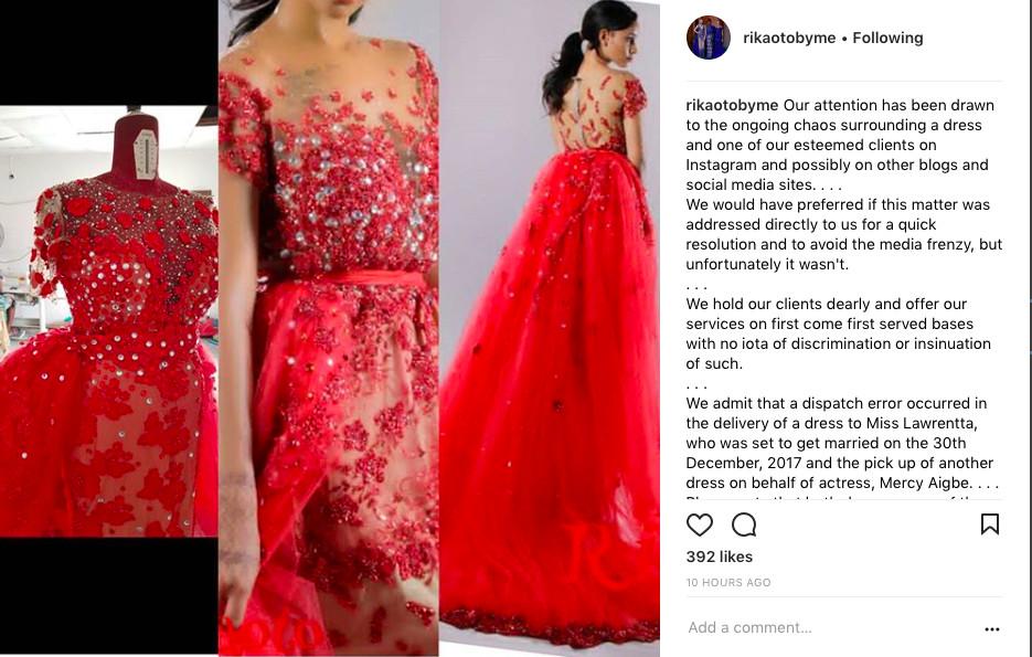 Fashion Designer Rikaotobyme apologizes for using bride's fabric for Mercy Aigbe Birthday shoot - BellaNaija