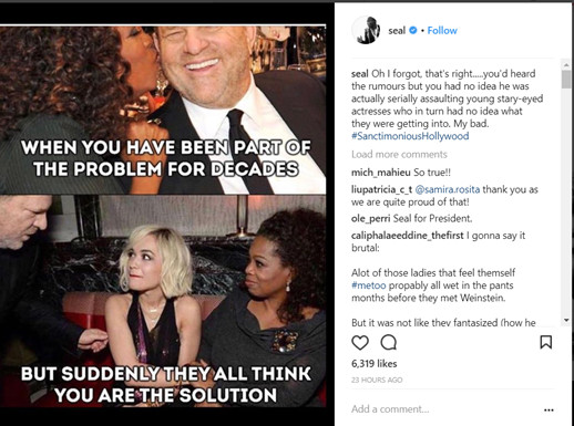 """Seal calls out Oprah Winfrey, says she is """"part of the problem"""""""