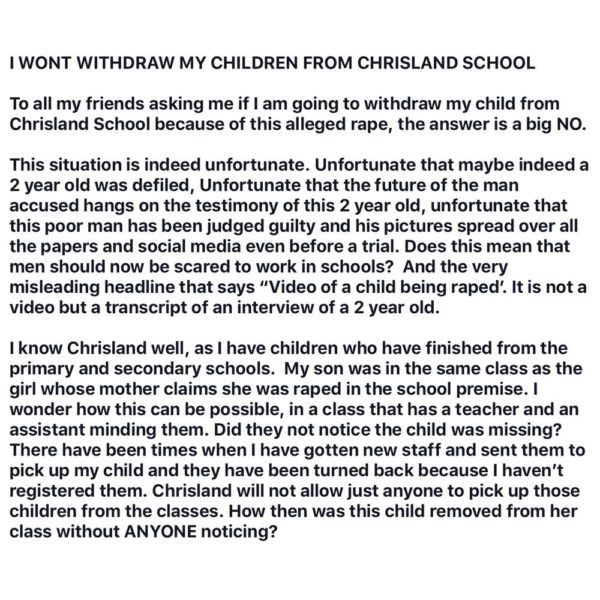 Parent explains why she won't be Withdrawing her Children from Chrisland School - BellaNaija