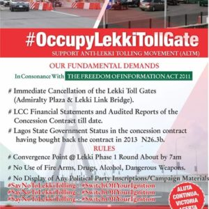 #OccupyLekkiTollGate Protest to take place on Friday Morning