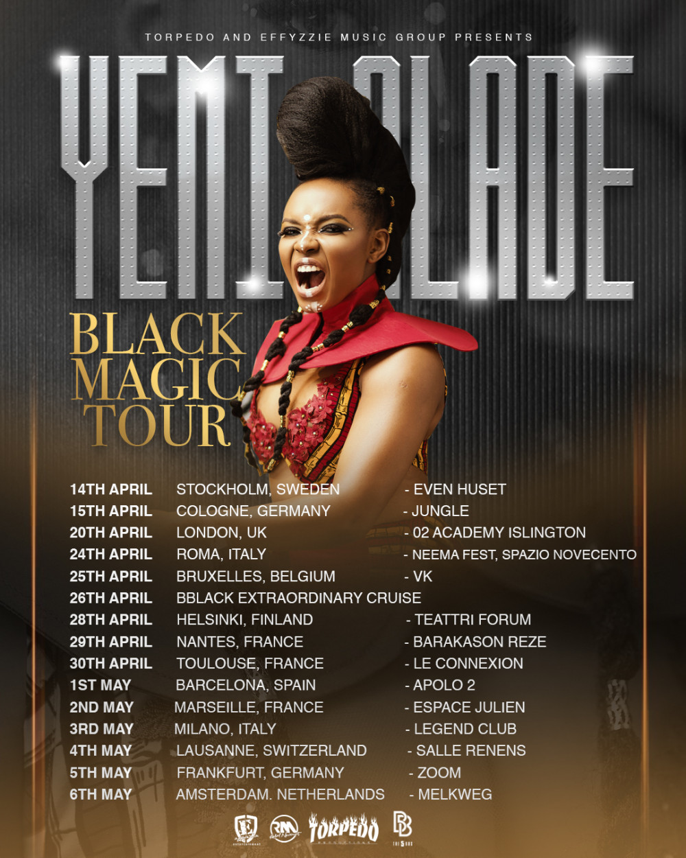 Yemi Alade releases Schedule for European Leg of Black Magic World Tour