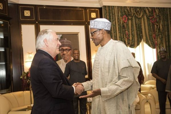 President Buhari hosts U.S. Secretary of State Rex Tillerson, says Nigeria Negotiating with Boko Haram to secure release of Abducted Girls - BellaNaija