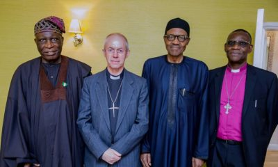 President Buhari receives Archbishop of Canterbury & Nigerian High Commissioner at the Abuja House in London