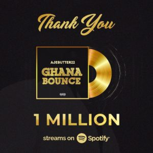 "Ajebutter's ""Ghana Bounce"" hits 1 Million Streams on Spotify"