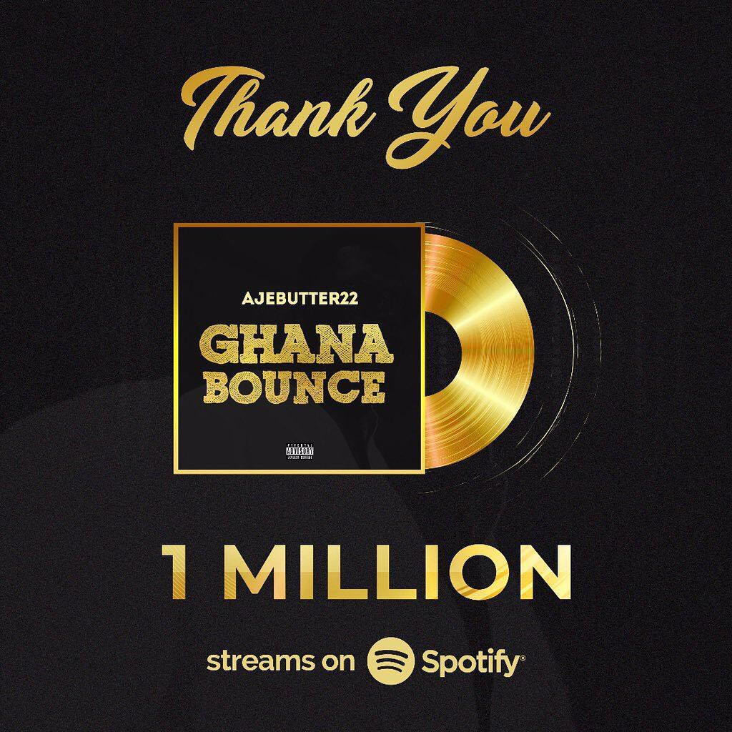 "Ajebutter22's ""Ghana Bounce"" hits 1 Million Streams on Spotify"