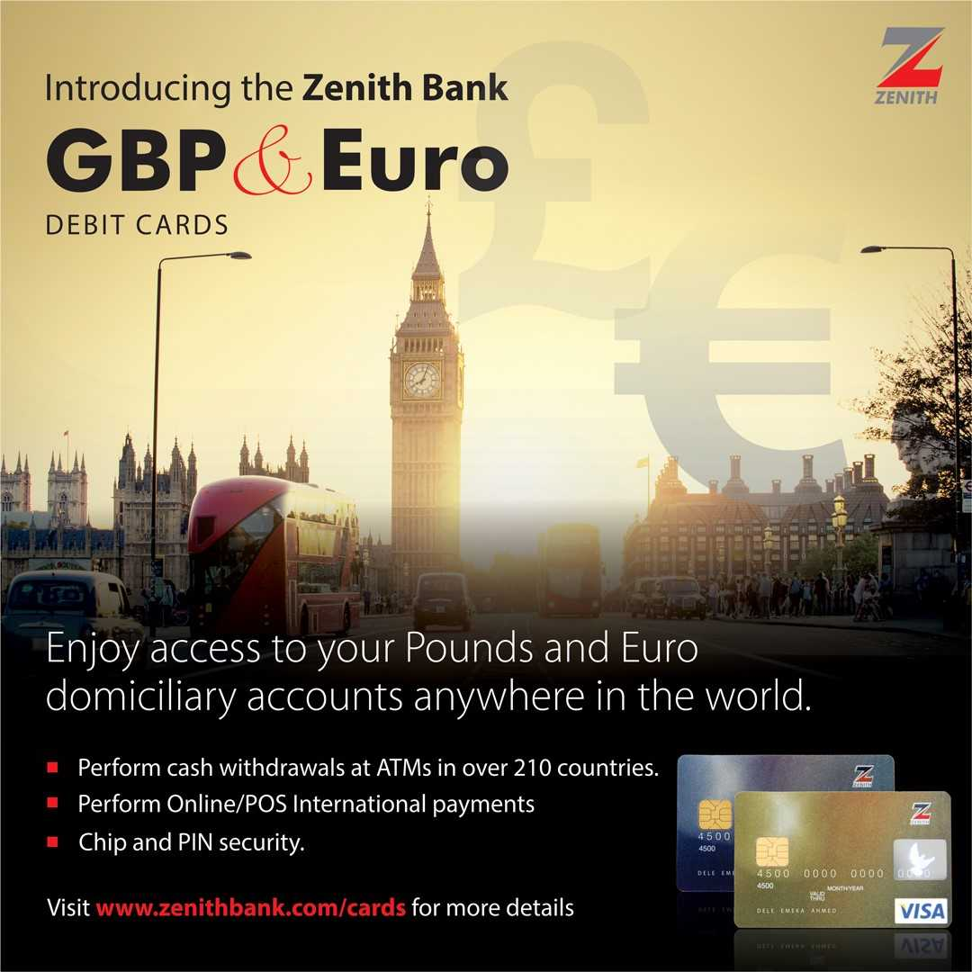 Zenith Bank euro & pound debit visa card