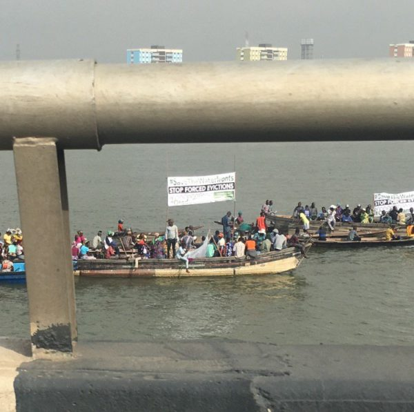 Otodo Gbame residents protest Forced Evictions around Third Mainland Bridge | BellaNaija
