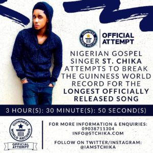 "Gospel act St. Chika attempts to break World Record with New Single ""Power In The Name Of The Lord"" 