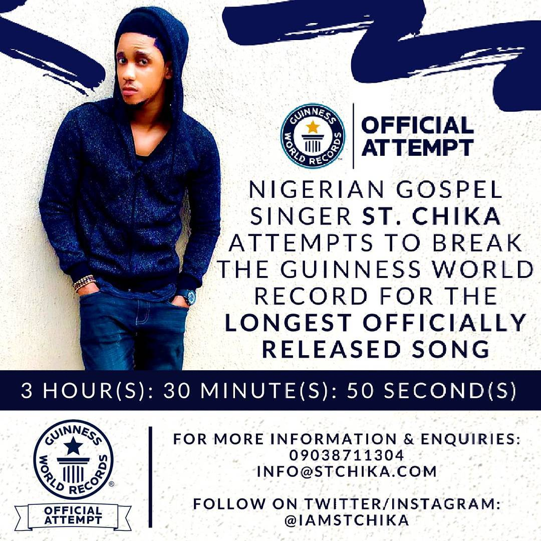 """Gospel act St. Chika attempts to break World Record with New Single """"Power In The Name Of The Lord""""   Listen on BN"""