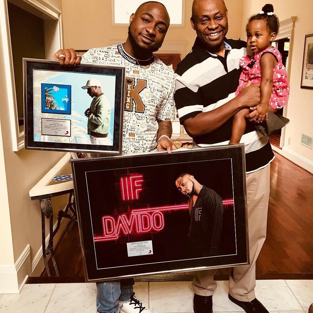 """Davido dedicates """"IF"""" & """"Fall"""" Platinum plaques to Dad & Daughter"""