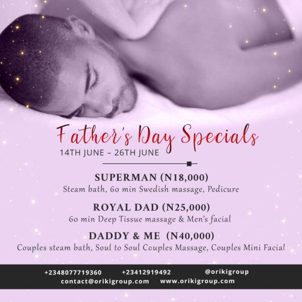 ORÍKÌ Spa fathers day special