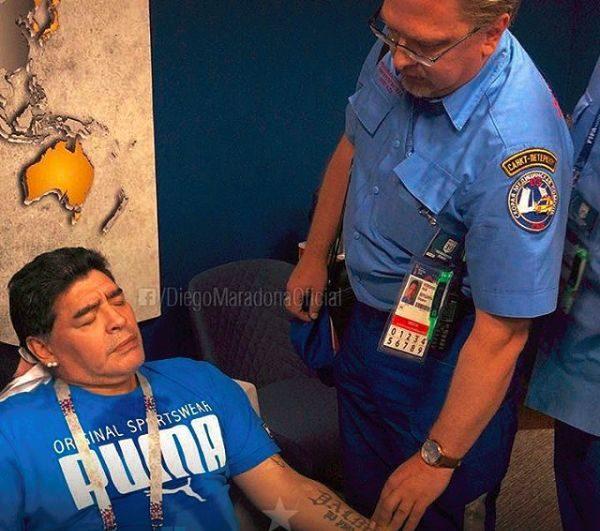 Maradona treated by Paramedics after Argentina's match against Nigeria | BellaNaija