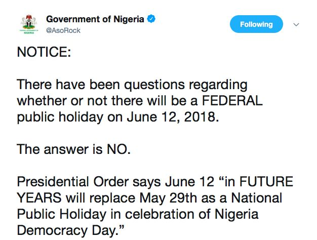 There will be No Federal Public Holiday on June 12, 2018 ...