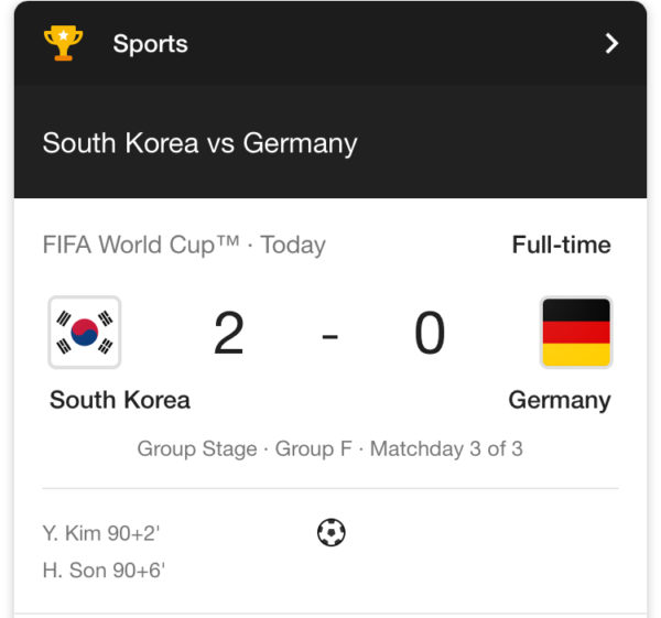 Germany out after loss to South Korea