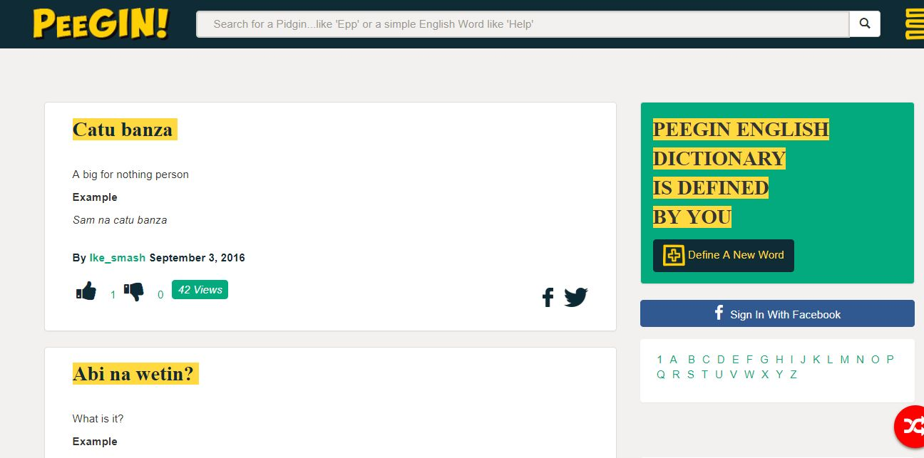 There's now a Pidgin English dictionary on the Internet - Peegin | BellaNaija
