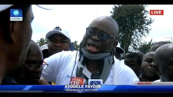 Fayose cries & wears Neck-brace as he recounts encounter with Police | BellaNaija