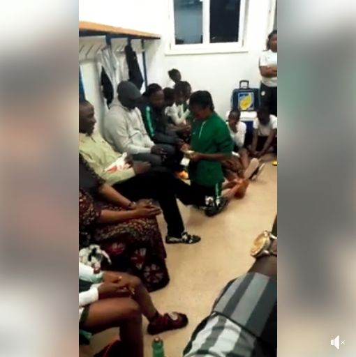 This video of the Falconets kneeling before Dalung to count their Entitlements is sparking Controversy | Watch | BellaNaija