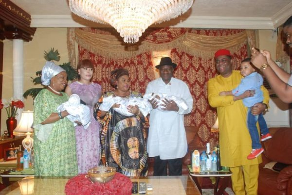Patience & Goodluck Jonathan visit Femi Fani Kayode's new Triplets | BellaNaija