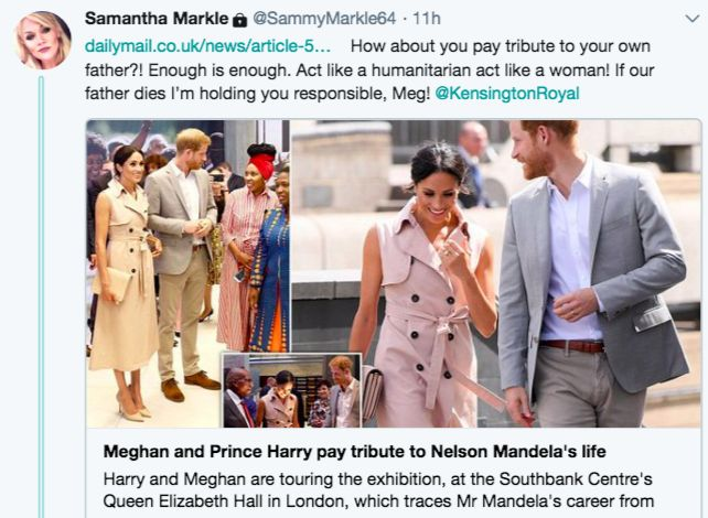 Meghan Markle's half-sister demands $1,500 for interview about the Duchess