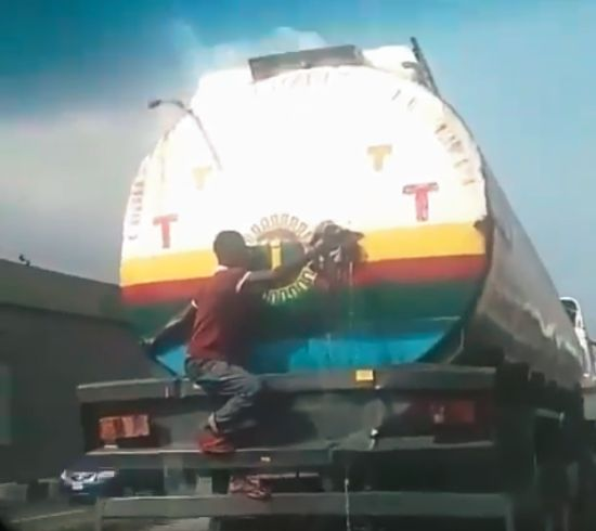 See #Trending video of Tanker in Maryland dripping Fuel | BellaNaija