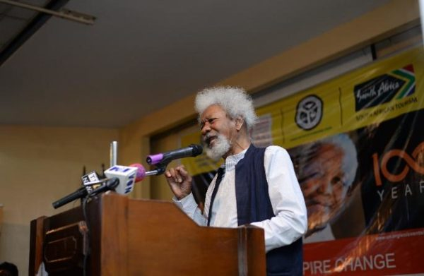 Professor Wole Soyinka delivering his speech & poem