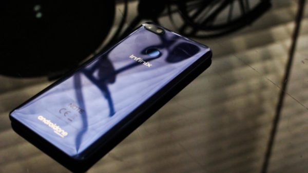 Slant view of the Infinix Note 5