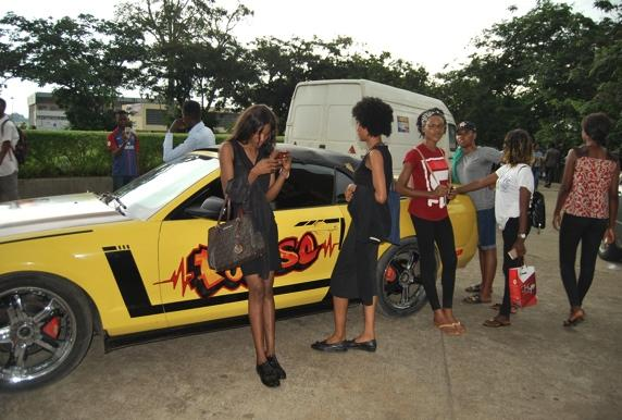 Students with the MTN convertible