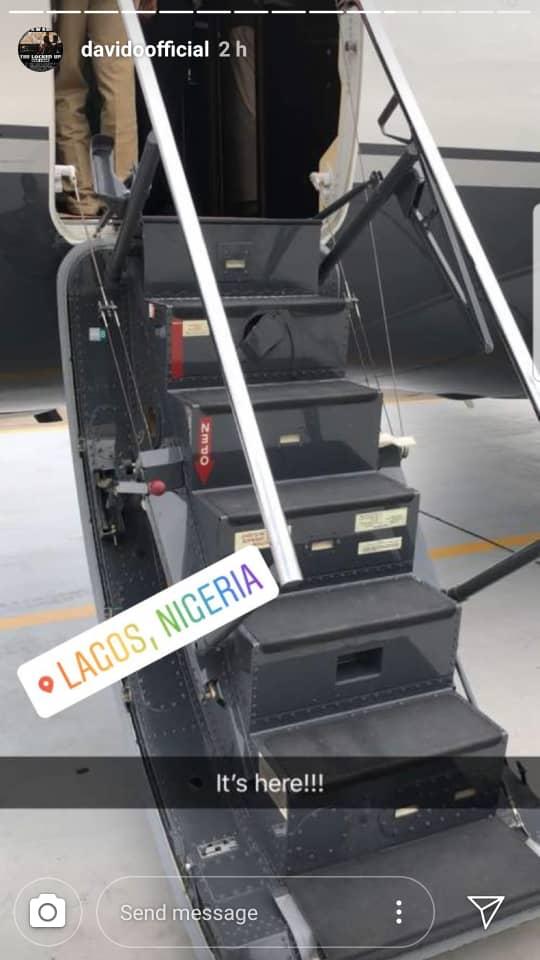"Davido announces his Private Jet ""has landed"" with a Photo - Image ~ Naijabang"
