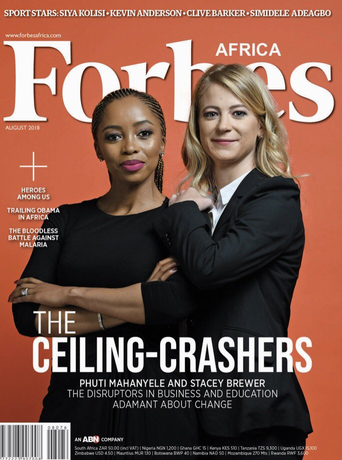 The Ceiling Crashers! South Africa's Phuti Mahanyele & Stacey Brewer cover Forbes Africa Magazine's August Issue