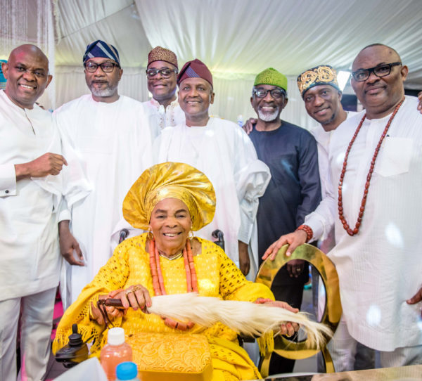 Dangote, Otedola, Jim Ovia attend Tony Elumelu's party for Mum's 90th Birthday | BellaNaija