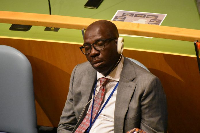 """""""He momentarily succumbed to fatigue"""" - Edo State releases statement on Governor Obaseki sleeping during UN general Assembly 