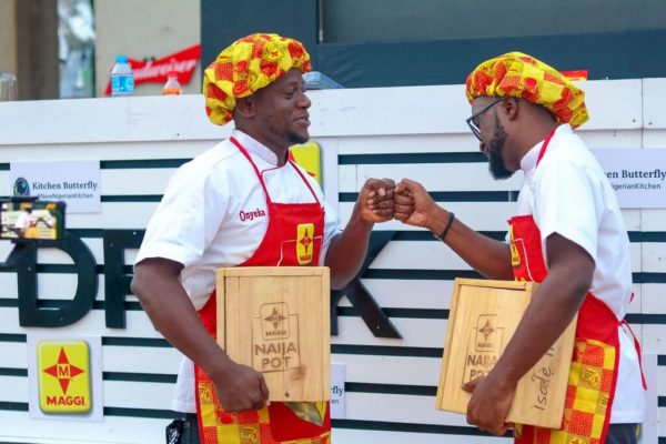 Maggi cooks at the Jollof and Other Things event