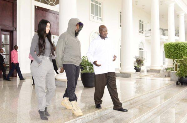 Kanye West & Kim Kardashian meet up with Ugandan President Museveni, gifts him Sneakers | BellaNaija