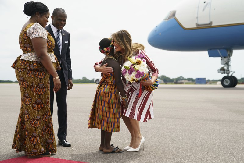 Melania Trump arrives in Ghana on solo African trip