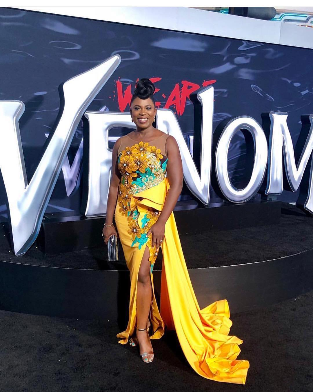 Sope Aluko Wore A Custom Kathy Anthony Dress For Venom Movie Premiere