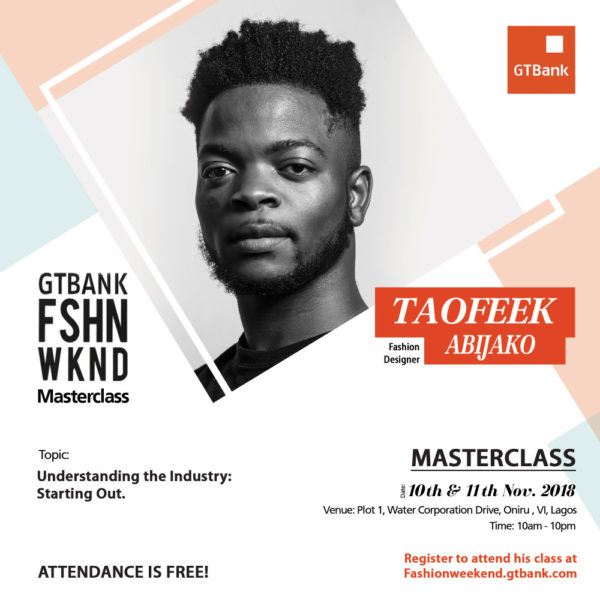 Taofeek Abijako at GTBank Fashion Weekend