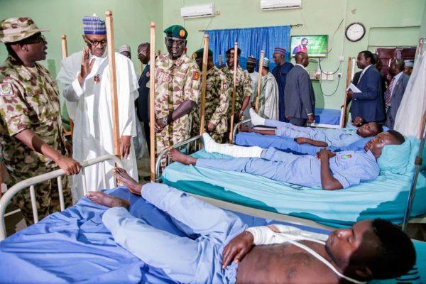 Buhari visits Wounded Troops in Borno State | BellaNaija